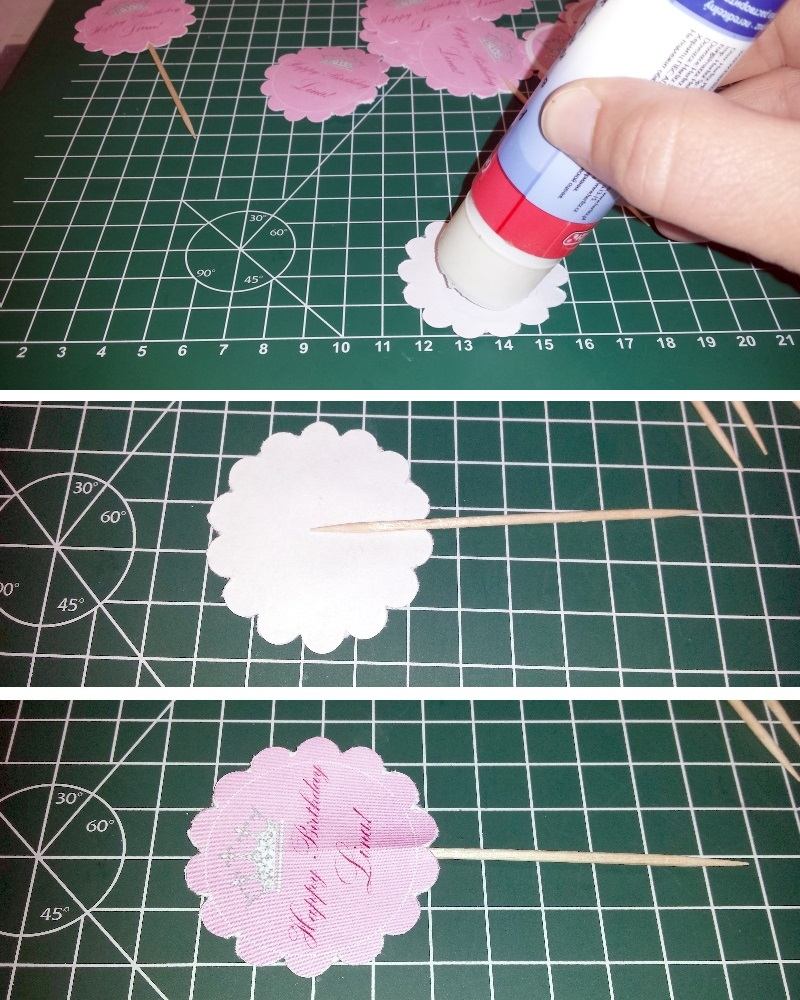Step 4 - Kleben der Cupcake Toppers