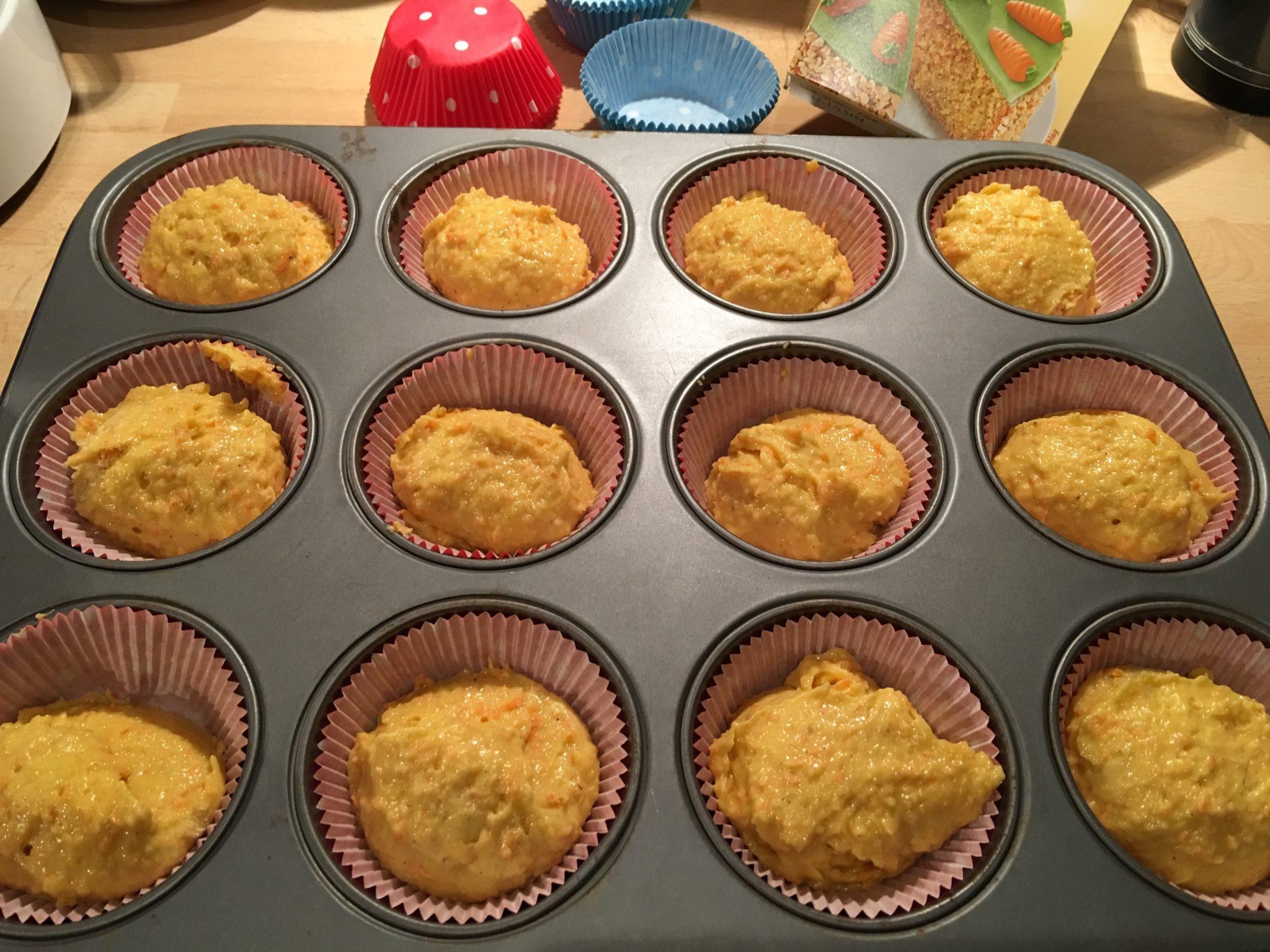 Rübli-Muffins vor dem Backen