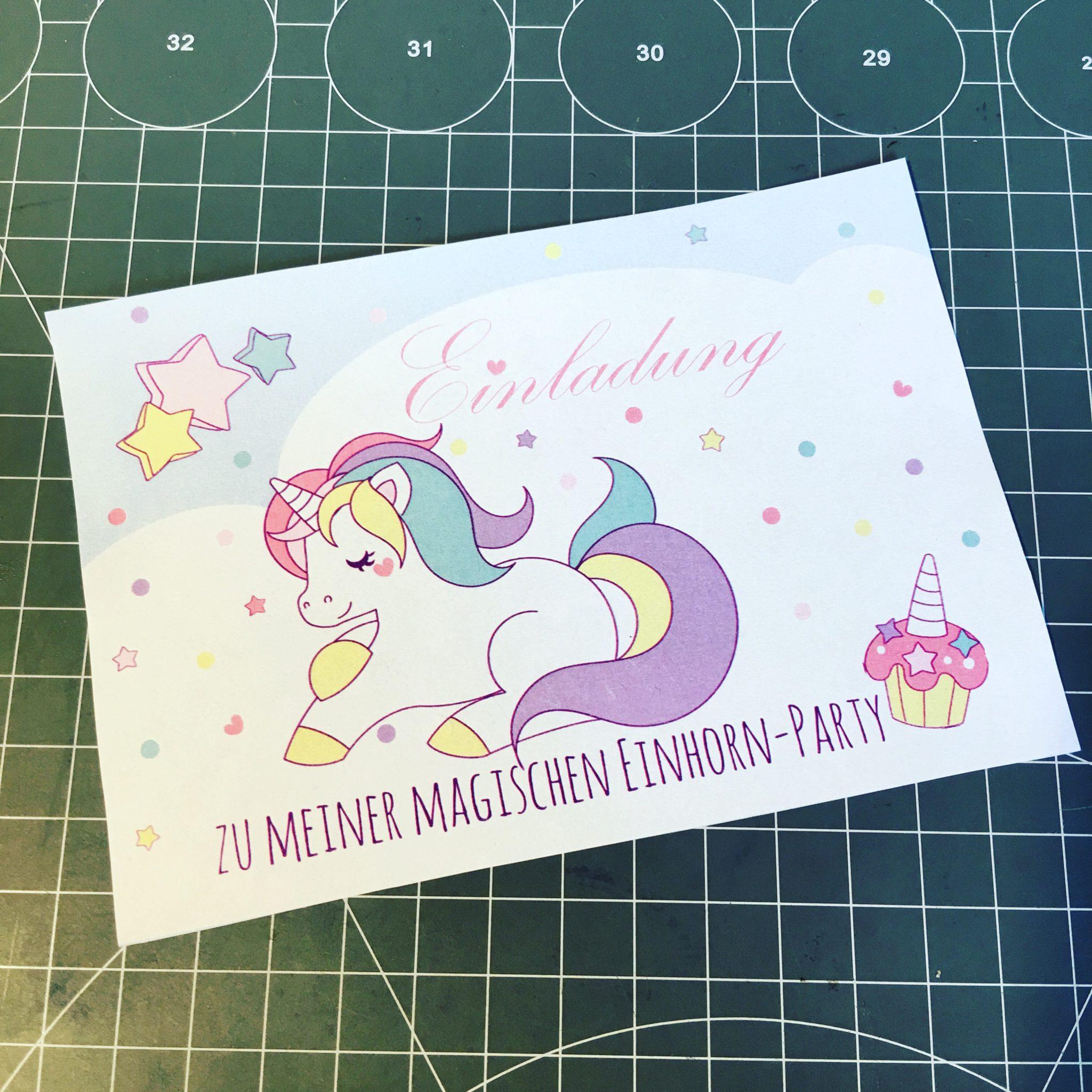 Einladungskarte Einhorn-Party