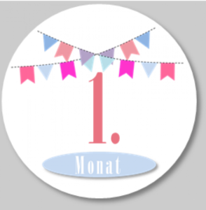 Monatssticker mit rosa Wimpeln