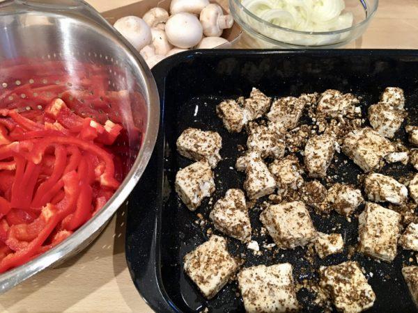 Paprika, Champignons, Zwiebeln