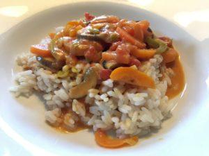 Rezept veganes Curry aus Gemüse und Reis