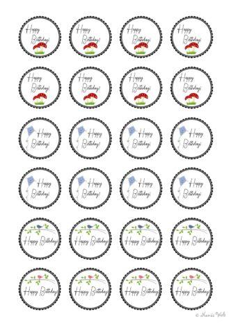 24 Geburtstagsaufkleber verschiedene Motive