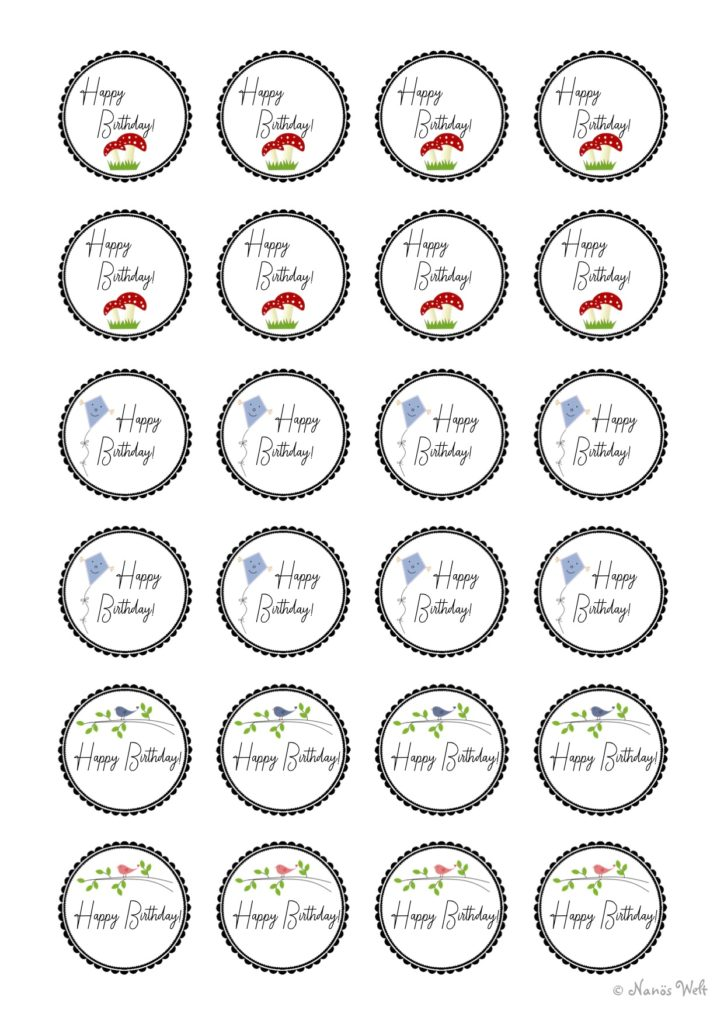 24 Aufkleber verschiedene Motive Happy Birthday