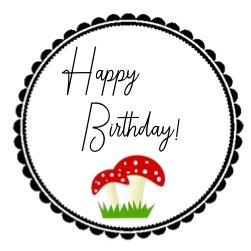 Aufkleber Glückspilz Happy Birthday
