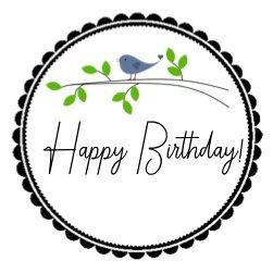 Geburtstagsaufkleber blaues Vögelchen