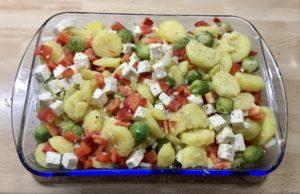 Gemüse-Käse-Mischung in der Auflaufform